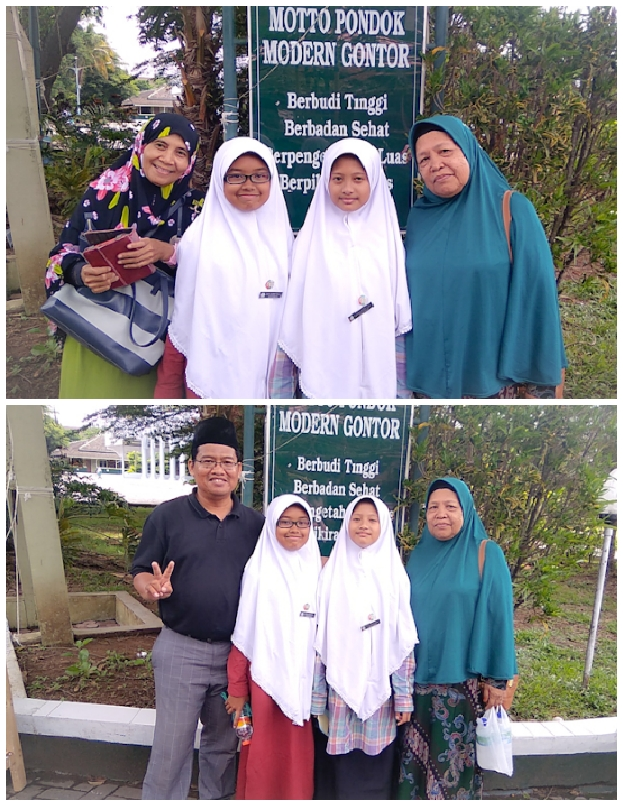 (Ket. foto: saya, istri, ananda dan temannya serta ibu saya berfoto di pondok Gontor Putri 1. Kami sebagai wali mendukung putri kami ke pondok. Juga keluarga besar kami. Alhamdulillah).